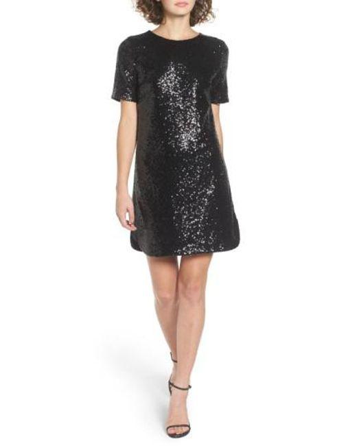 Soprano Sequin T-shirt Dress in Black | Lyst