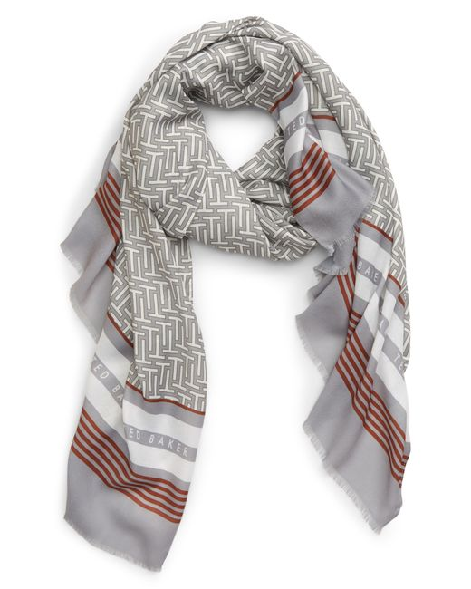 Ted Baker Gray Mono Wide Scarf