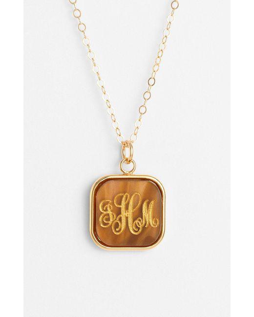 Moon & Lola - Metallic 'vineyard' Personalized Monogram Pendant Necklace - Lyst