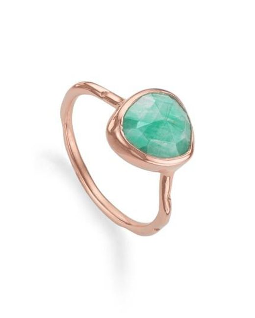 Monica Vinader - Pink 'siren' Semiprecious Stone Stacking Ring - Lyst