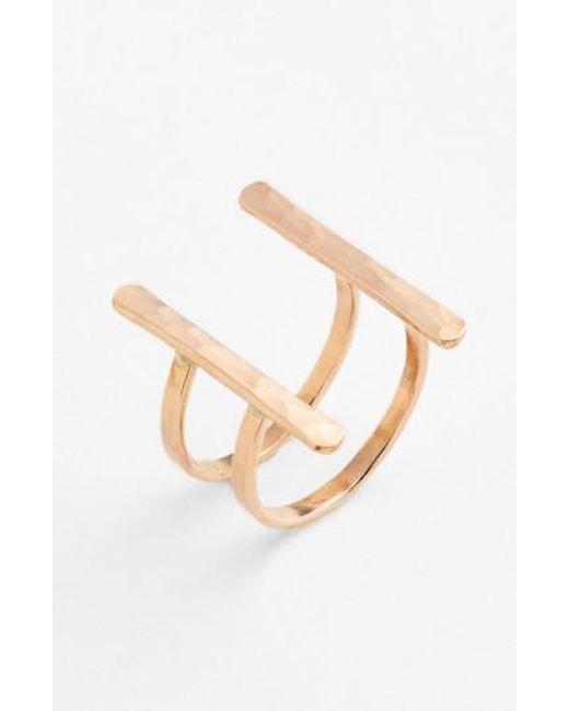 Nashelle - Metallic Ija Double Bar Open Ring - Lyst
