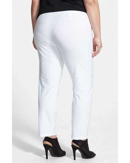 Eileen Fisher White Crepe Ankle Pants