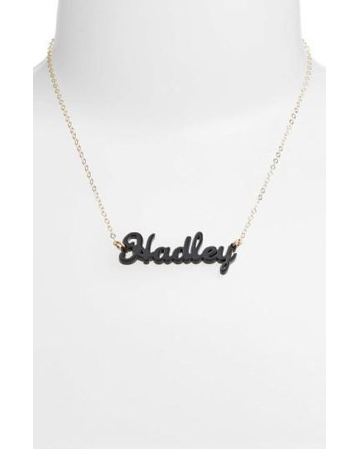 Moon & Lola | Black 'script Font' Personalized Nameplate Pendant Necklace | Lyst