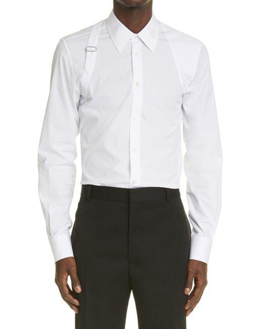Alexander McQueen White Harness Stretch Poplin Men's Button-up Shirt for men