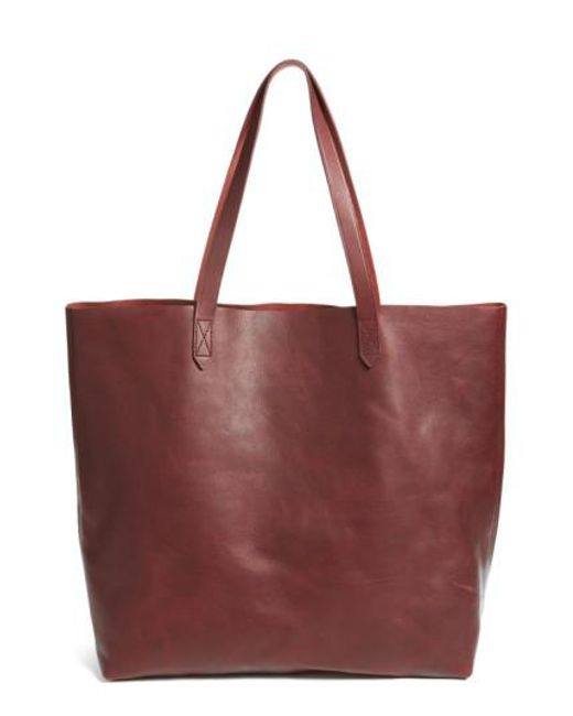 Madewell | Red Transport Leather Tote | Lyst