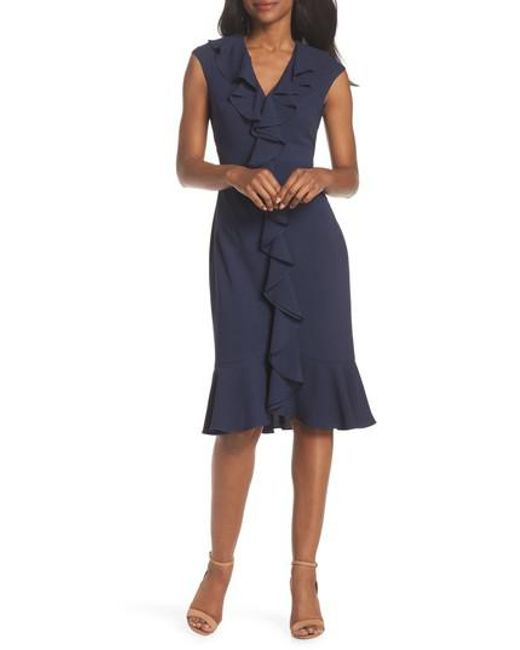 Lyst Maggy London Sleeveless Crepe Ruffle Dress In Blue