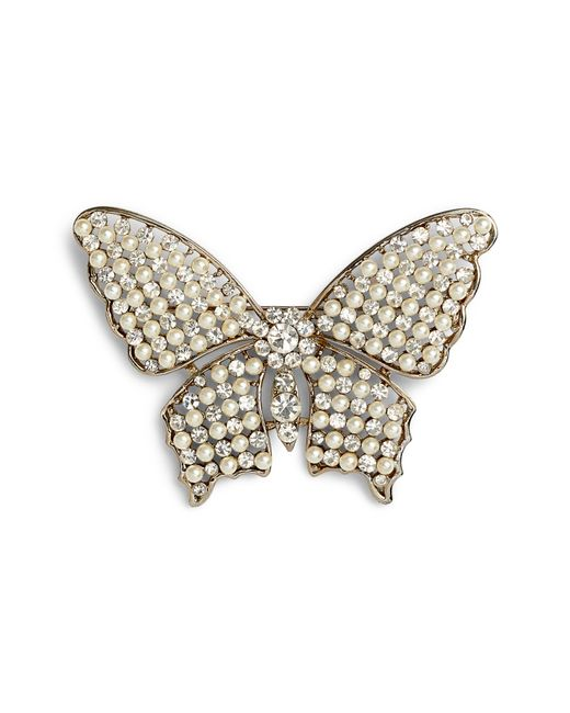 Nina - White Faux Pearl & Crystal Butterfly Brooch - Lyst