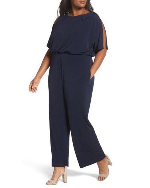 486c4c7bf604 Vince camuto Crepe Split Sleeve Jumpsuit in Blue
