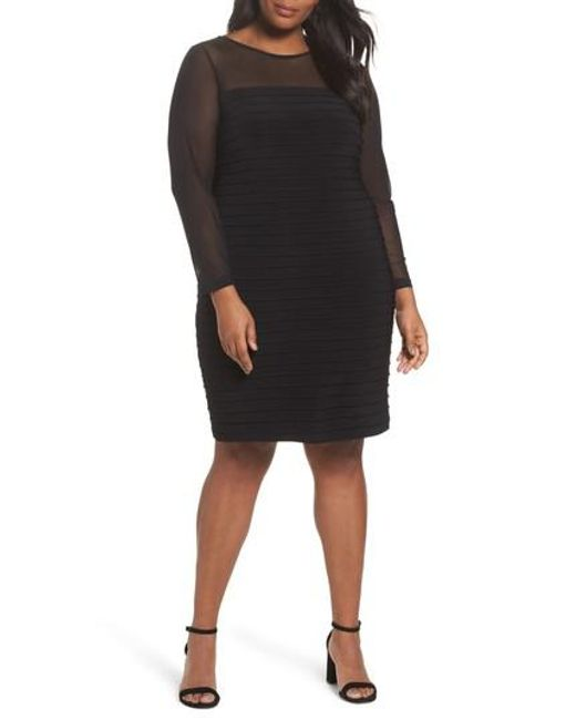 Adrianna Papell | Black Pintuck Sheath Dress | Lyst