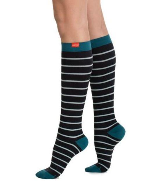 VIM & VIGR - Black Nautical Stripe Graduated Compression Trouser Socks - Lyst