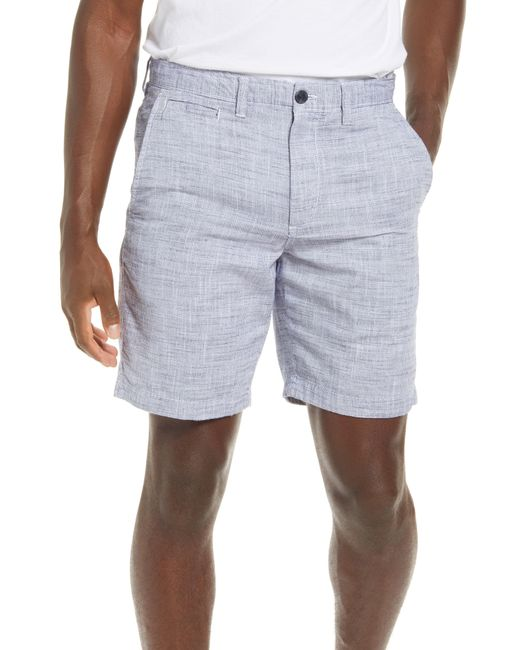 1901 Blue Textured Flat Front Chino Shorts for men