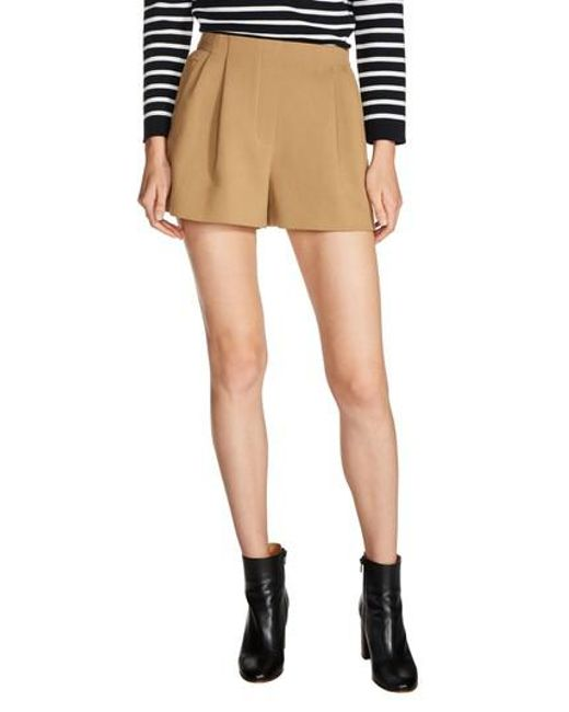 Maje | Natural Pleat Front Shorts | Lyst