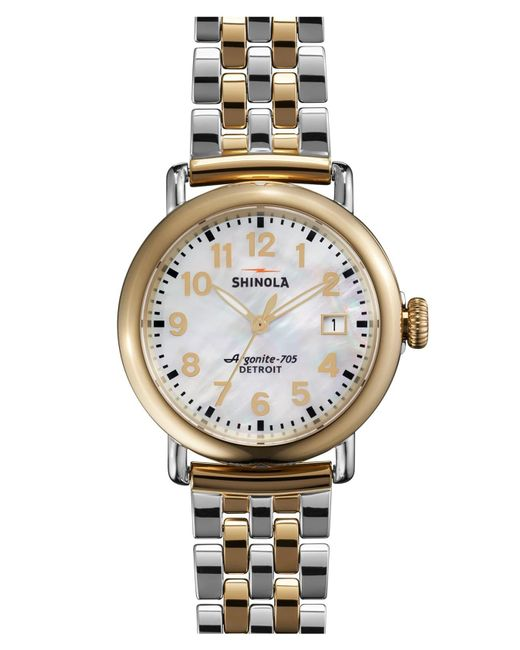 Shinola Metallic 'the Runwell' Bracelet Watch