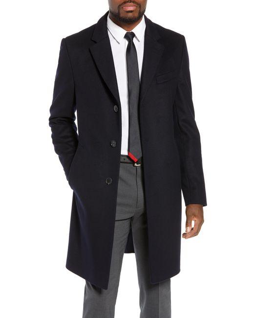 BOSS - Blue Nye Regular Fit Solid Wool & Cashmere Topcoat for Men - Lyst