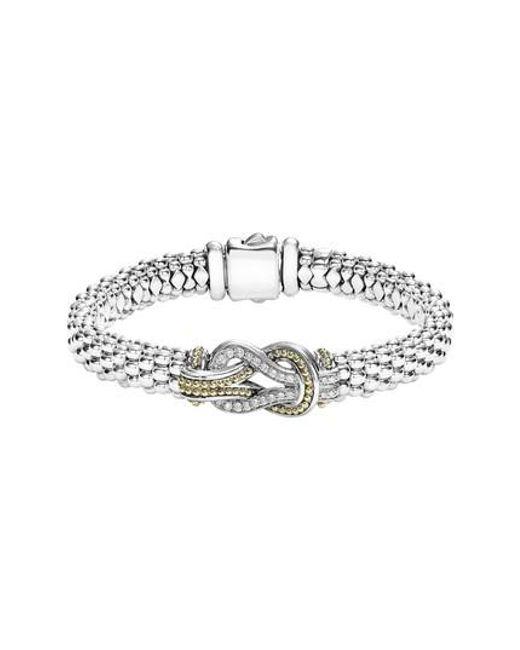 Lagos - Metallic Caviar Newport Diamond Station Bracelet - Lyst
