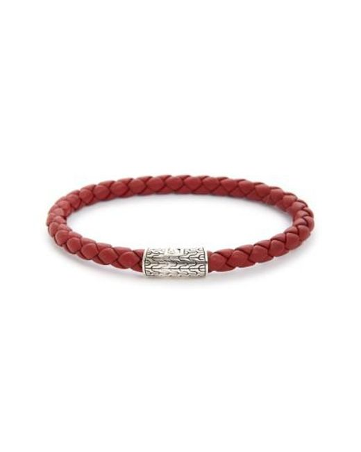 John Hardy - Red 'classic Chain' Woven Leather Bracelet - Lyst