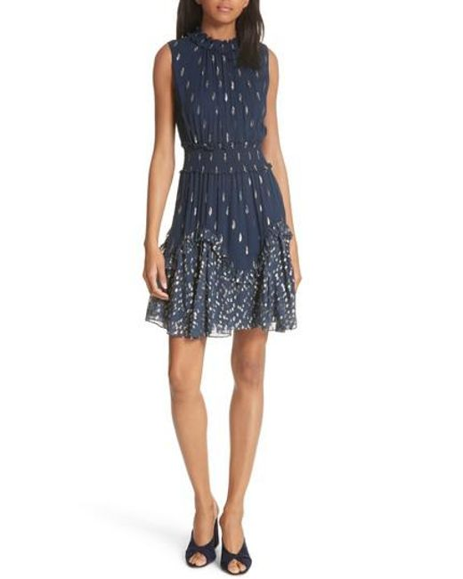 Rebecca Taylor - Blue Smocked Metallic Silk Dress - Lyst