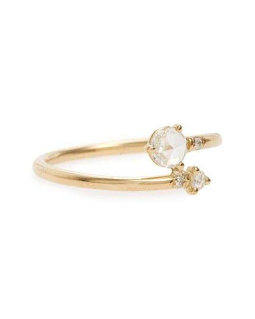 Wwake - Metallic Diamond Crossover Ring - Lyst