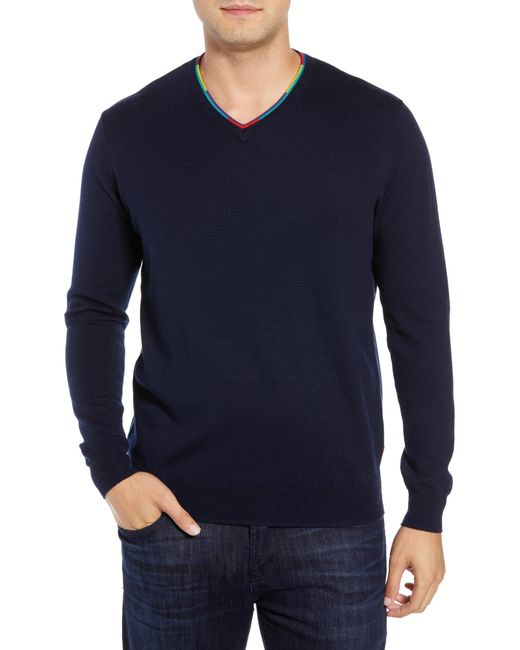 Bugatchi - Blue V-neck Merino Wool Sweater for Men - Lyst