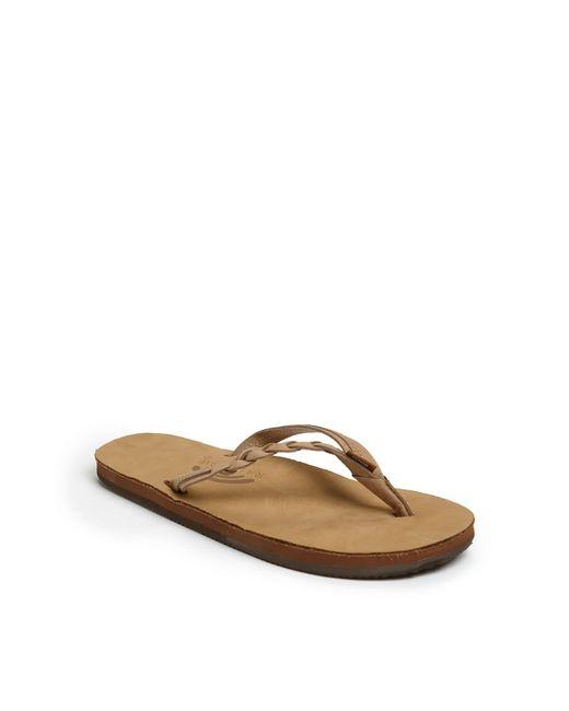 Rainbow Sandals Brown Rainbow 'flirty' Braided Leather Flip Flop