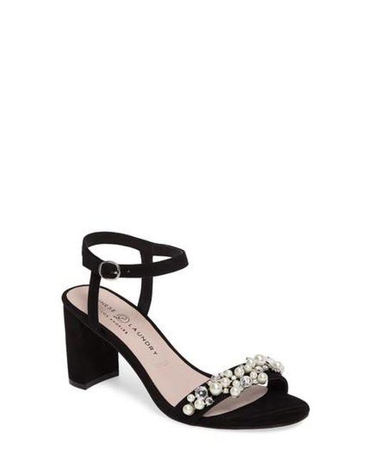 Chinese Laundry | Black Rosetta Embellished Sandal | Lyst