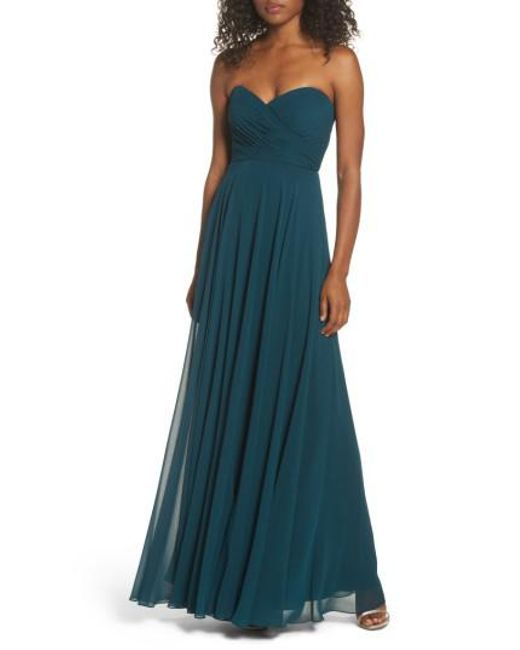 Jenny Yoo | Blue Adeline Strapless Chiffon Gown | Lyst