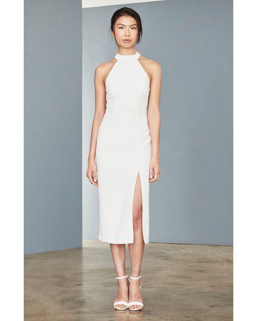 Amsale White Sheer Back Faille Sheath Dress