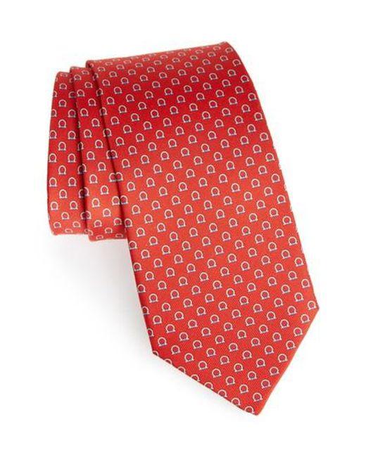 Ferragamo - Red Feudo Print Silk Tie for Men - Lyst