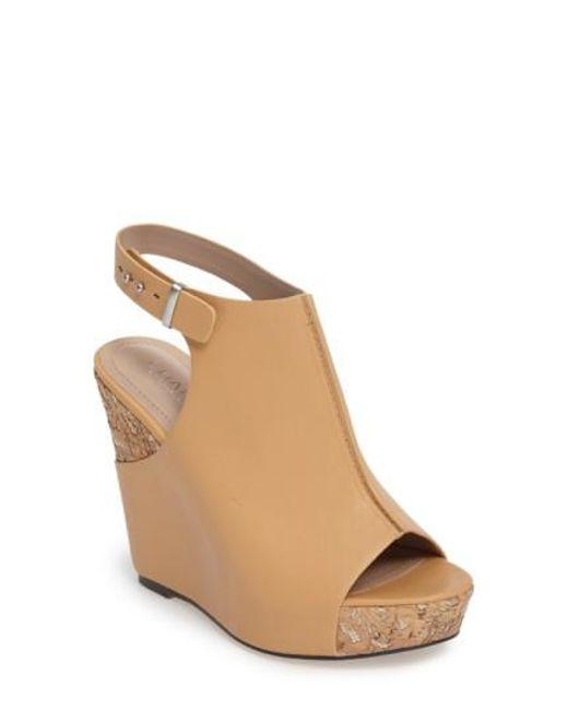 Charles David | Natural Ames Platform Wedge Sandal | Lyst