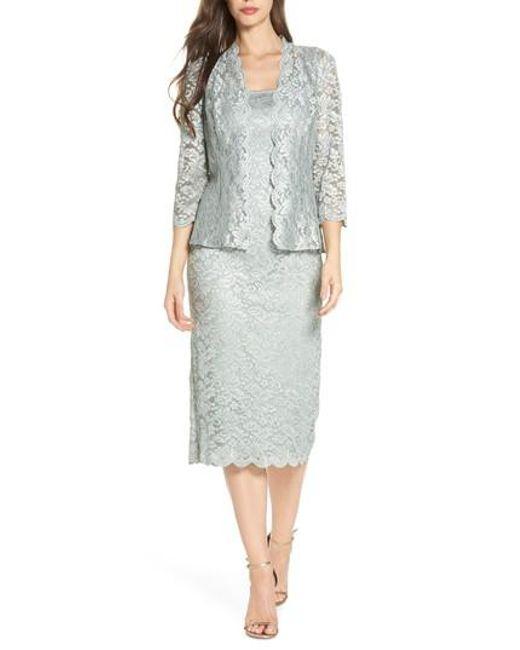 Alex Evenings - Multicolor Lace Tea Length Dress With Jacket - Lyst