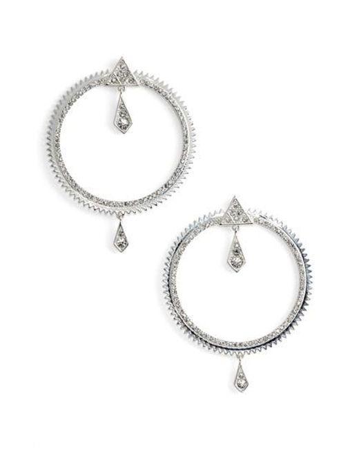 Luv Aj Metallic Pave Frontal Hoop Earrings Lyst