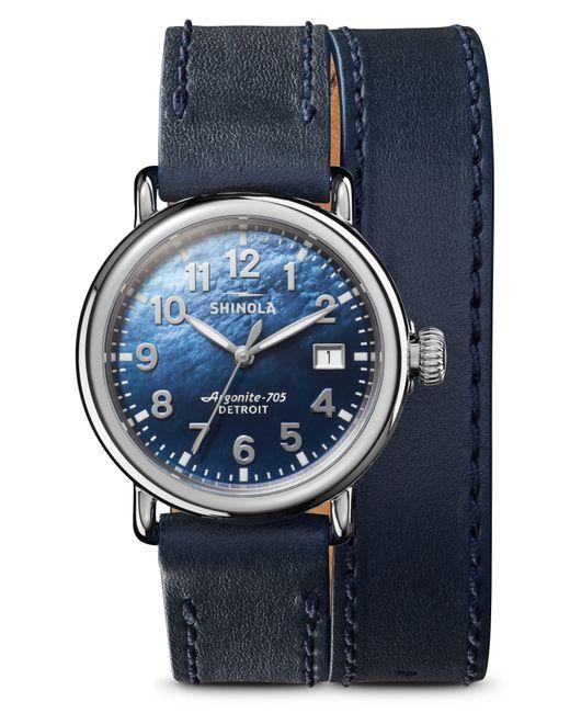 Shinola Metallic The Runwell Wraparound Leather Strap Watch