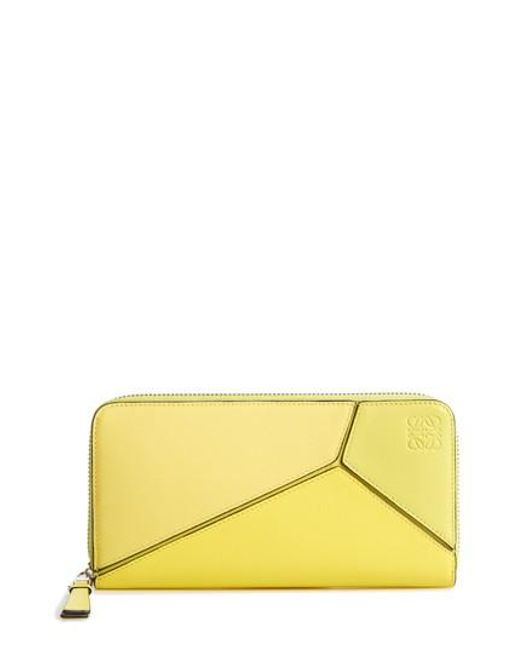 Loewe - Blue Puzzle Leather Zip Around Wallet - Lyst