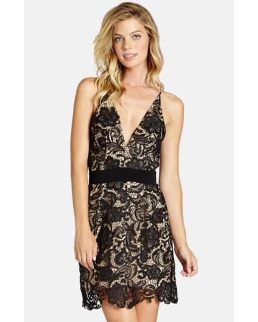 Dress the Population | Black 'Ava' Floral Lace Minidress | Lyst