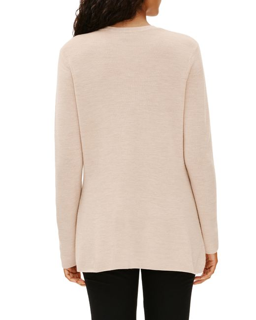 Eileen Fisher Natural V-neck Silk Tunic Top