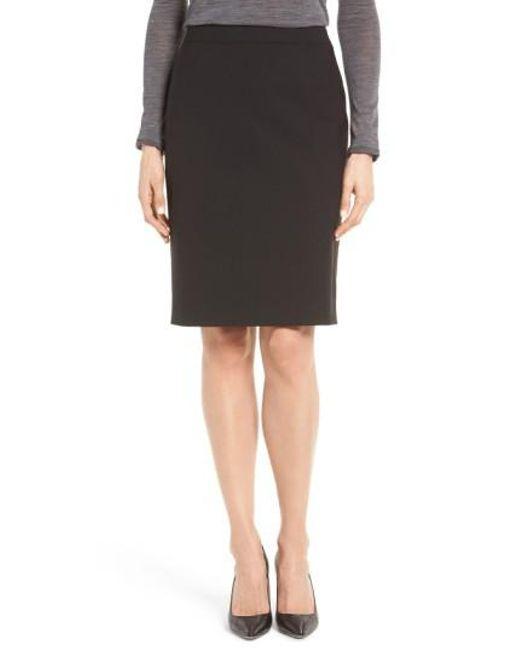 BOSS - Black 'vilea' Stretch Wool Pencil Skirt - Lyst