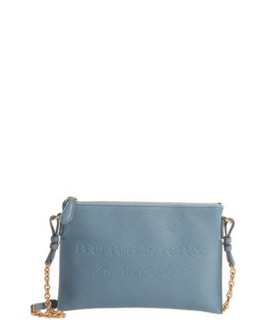 Burberry   Blue Peyton Leather Crossbody Bag   Lyst