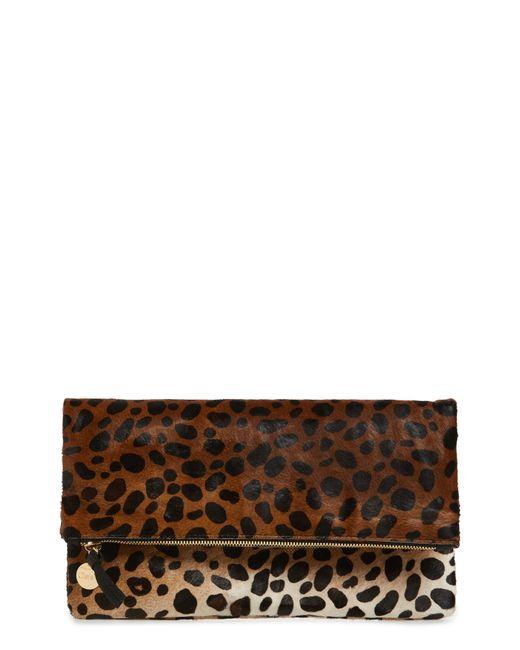 Clare V. - Brown Genuine Calf Hair Leopard Print Foldover Clutch - Lyst