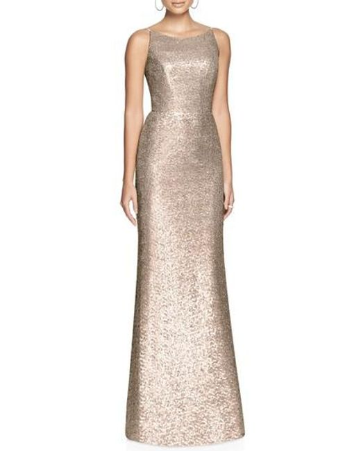 Dessy Collection - Multicolor Bateau Neck Sequin Gown - Lyst
