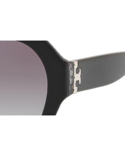 e01732e5b3e0 Tory Burch Serif T 57mm Hexagonal Sunglasses in Black - Save 51% - Lyst