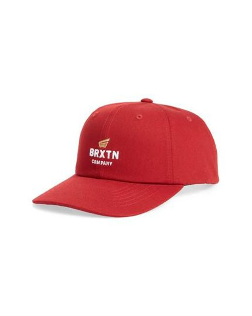 Brixton | Red Peabody Ball Cap for Men | Lyst