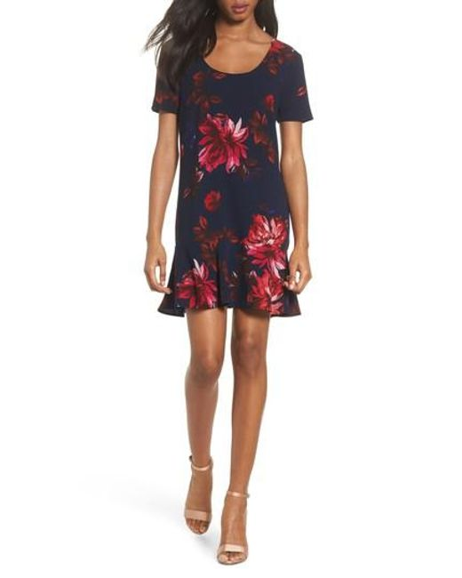 Charles Henry | Blue Floral Shift Dress | Lyst