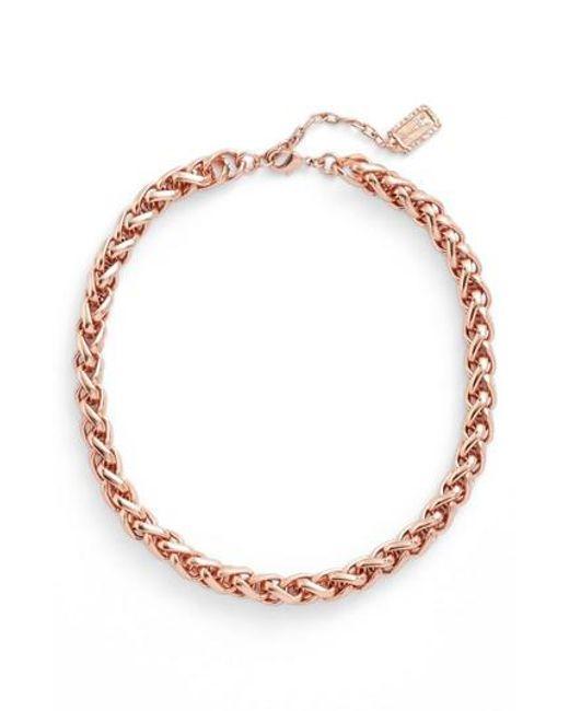 Karine Sultan | Metallic Braided Link Collar Necklace | Lyst