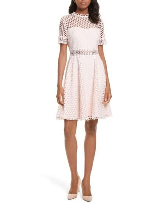 98f67aec4c Lyst - Ted baker Graycee Lace Skater Dress in Pink - Save 20%