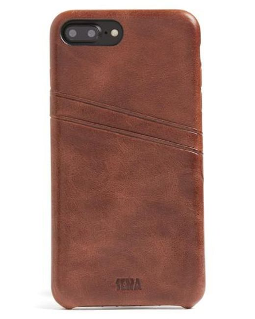 Sena | Brown Iphone 7 Plus Snap-on Wallet Case | Lyst