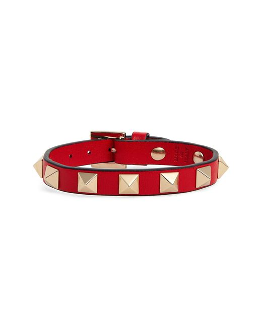 Valentino Red Rockstud Small Leather Bracelet