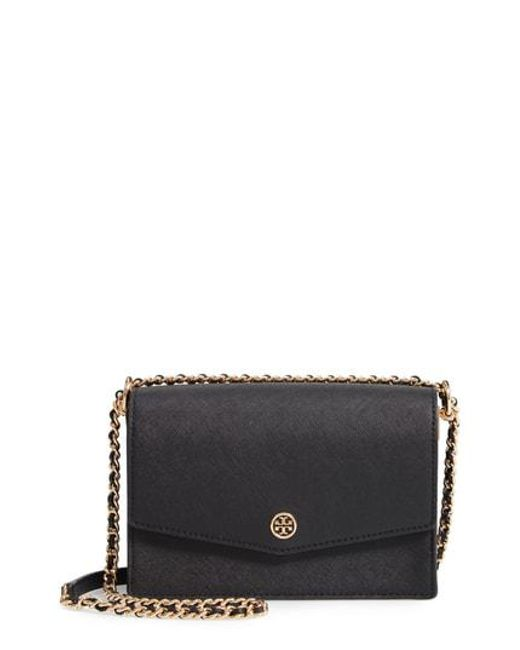 246b43e524c Tory Burch - Black Mini Robinson Convertible Leather Shoulder Bag - - Lyst