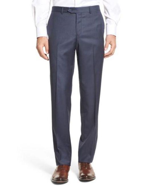 Nordstrom - Blue Flat Front Sharkskin Wool Trousers for Men - Lyst