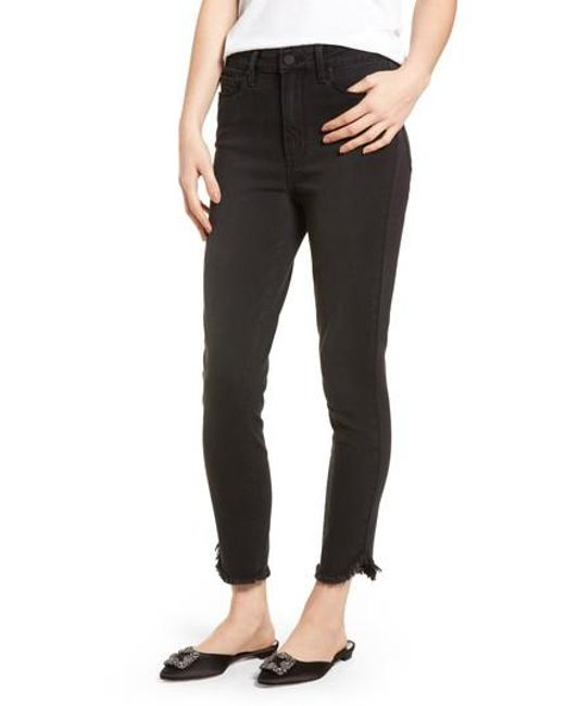 PAIGE - Black Transcend - Margot High Waist Crop Ultra Skinny Jeans - Lyst