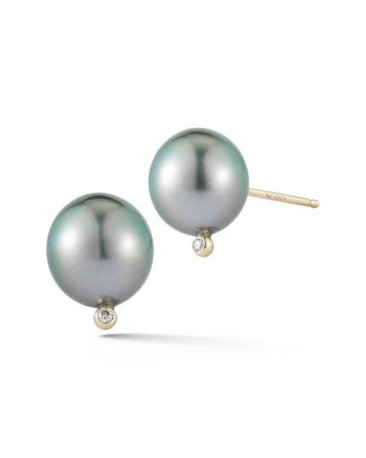 Mizuki | Multicolor Pearl & Diamond Stud Earrings | Lyst